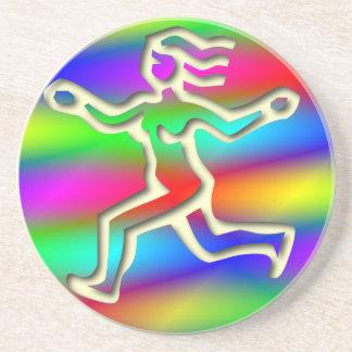 Virgo Zodiac Star Sign Rainbow Running Girl Sandstone Coaster