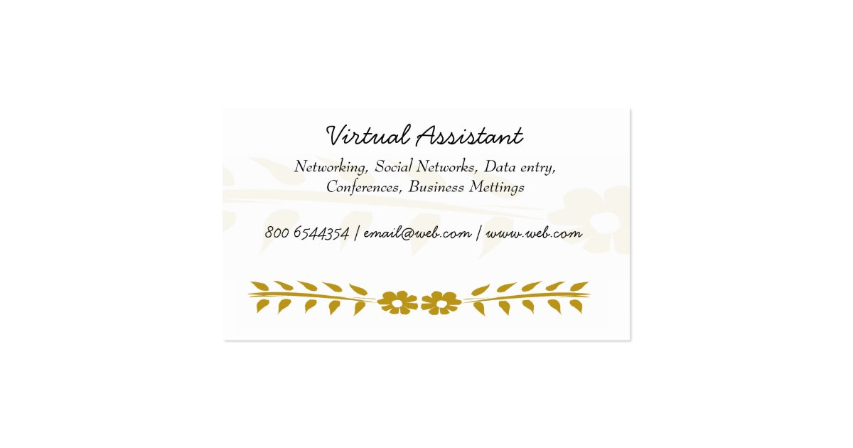 Virtual Assistant Business Card Zazzle