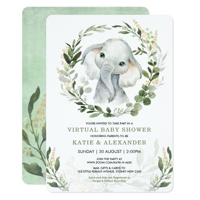 Virtual Baby Shower By Mail | Greenery Elephant Invitation