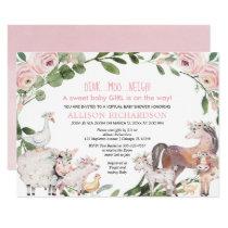 Virtual Baby Shower Farm Barnyard animals girl Invitation