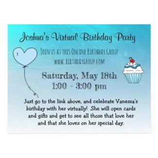 Virtual Birthday Party invitation Postcard