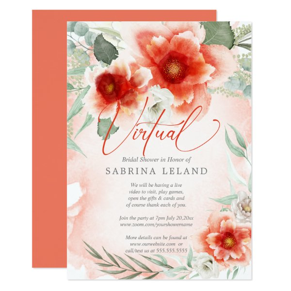 Virtual Bridal Shower Bold Watercolor Coral Flower Invitation