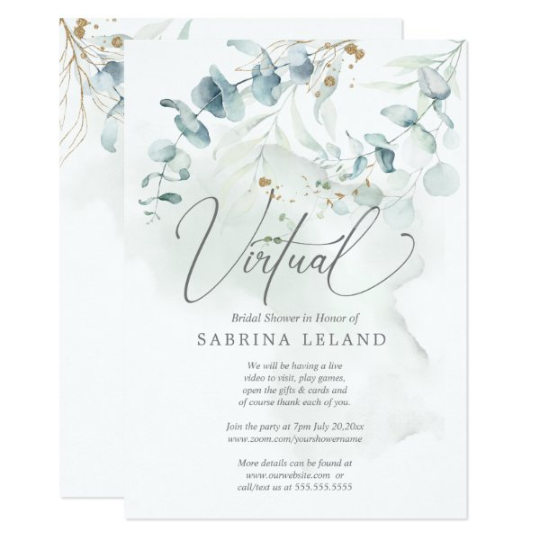 Virtual Bridal Shower Dusty Green Eucalyptus Invitation