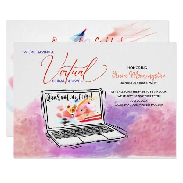Virtual Bridal Shower Quarantin-i Time Invitation