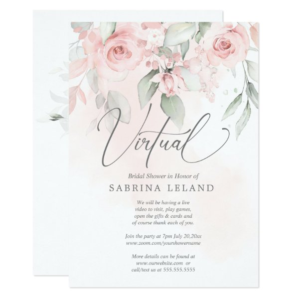 Virtual Bridal Shower Vintage Blush Pink Roses Invitation