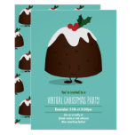 Virtual Christmas Party Pudding Holiday Teal White Invitation
