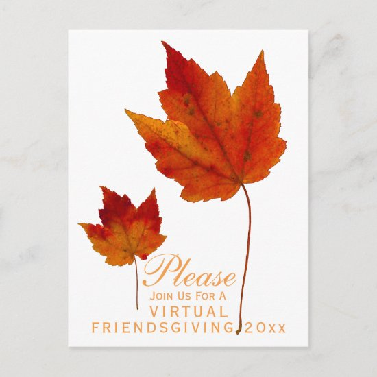 Virtual Friendsgiving Autumn Maple Leaves Holiday Invitation Postcard