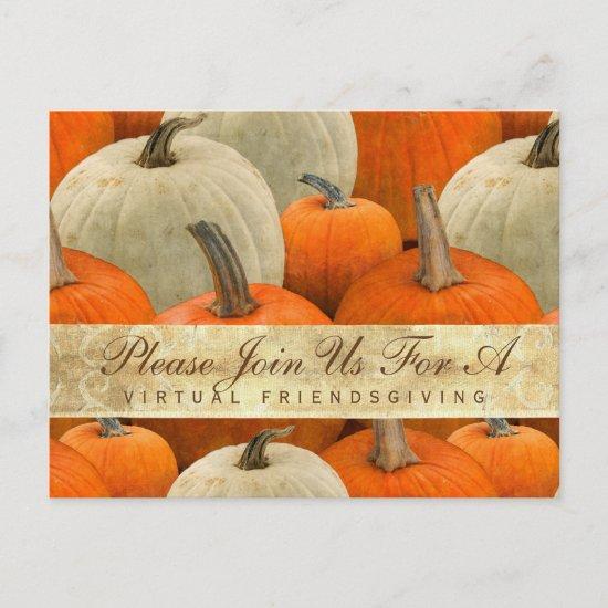 Virtual Friendsgiving Dinner Pumpkin Harvest Invitation Postcard