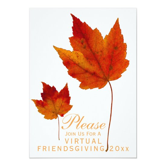 Virtual Friendsgiving Orange Autumn Leaves Invitation