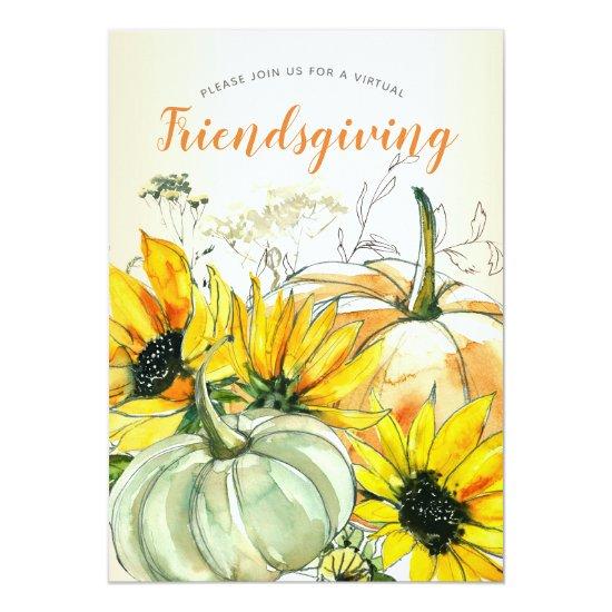 Virtual Friendsgiving Watercolor Sunflower Pumpkin Invitation