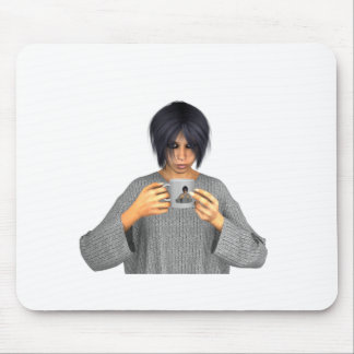 Virtual Lucia and her morning coffee Mouse Pad