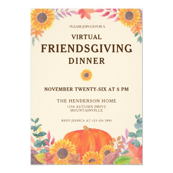 Virtual Pumpkin Sunflowers Friendsgiving Dinner Invitation