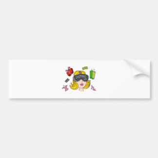 Virtual Reality Shopping Girl Bumper Sticker