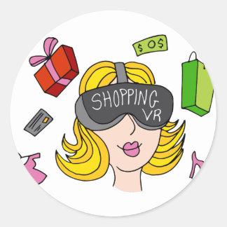 Virtual Reality Shopping Girl Classic Round Sticker