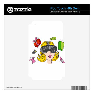Virtual Reality Shopping Girl Decals For iPod Touch 4G