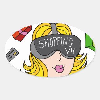 Virtual Reality Shopping Girl Oval Sticker