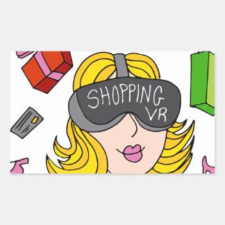 Virtual Reality Shopping Girl Rectangular Sticker