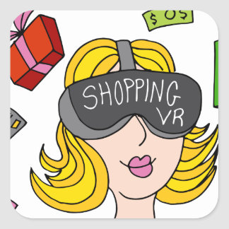 Virtual Reality Shopping Girl Square Sticker