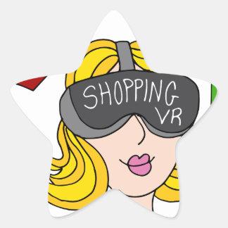 Virtual Reality Shopping Girl Star Sticker