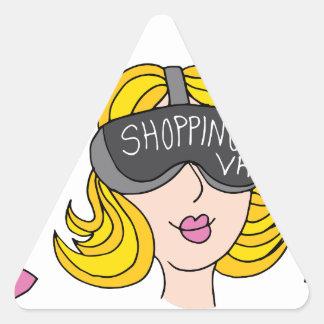 Virtual Reality Shopping Girl Triangle Sticker