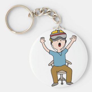 Virtual Reality Space Exploration Basic Round Button Keychain