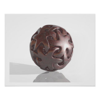 Virtual Sculpture Interlocked Star Marble Red With Poster