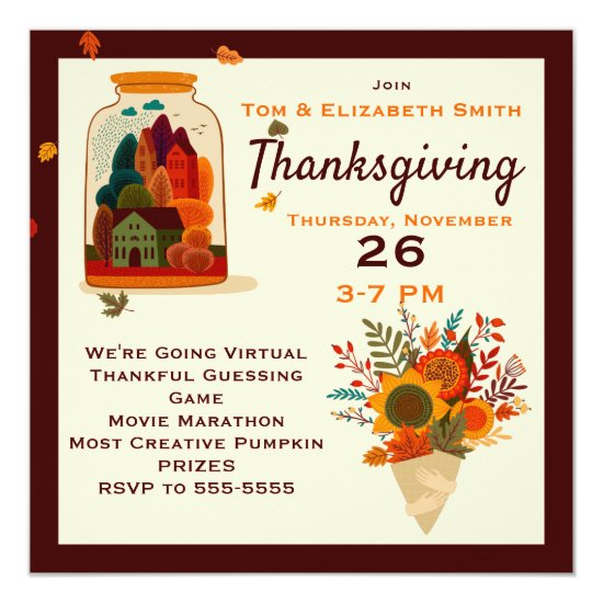 Virtual Thanksgiving Autumn in a Jar Invitation