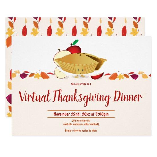 Virtual Thanksgiving Autumn Leaves Apple Pie Invitation