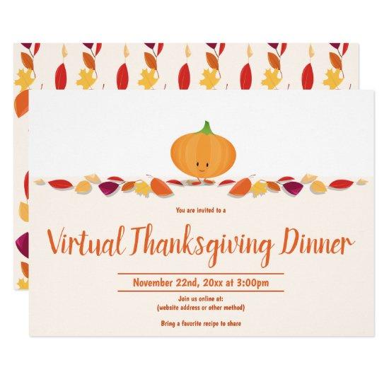 Virtual Thanksgiving Autumn  Leaves Pumpkin Invitation