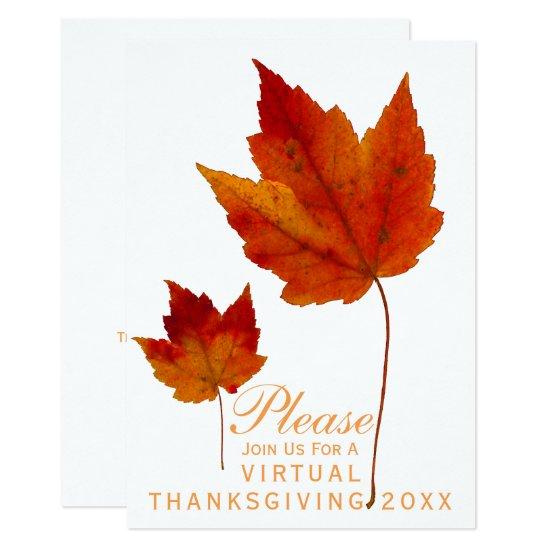 Virtual Thanksgiving Autumn Maple Leaves Invitation