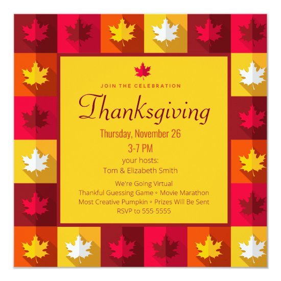 Virtual Thanksgiving Autumn Patchwork red orange Invitation