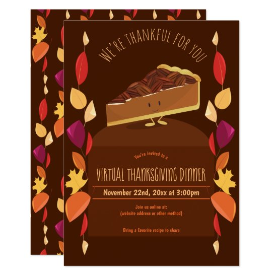 Virtual Thanksgiving Dinner Leaves Pecan Pie Brown Invitation