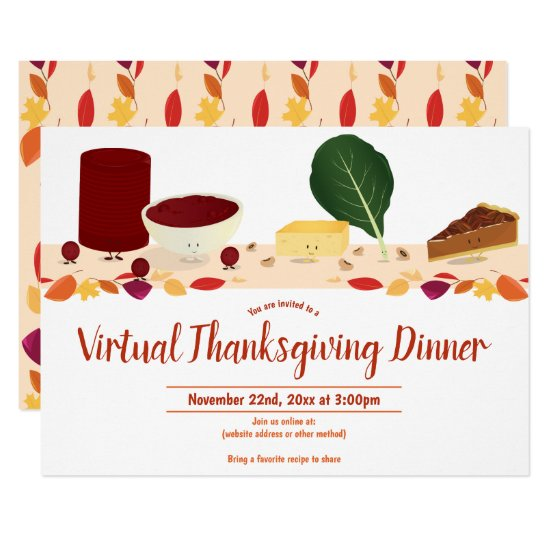 Virtual Thanksgiving Dinner Smiling Foods Leaves Invitation
