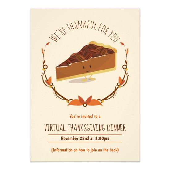 Virtual Thanksgiving Dinner Tan Brown Pecan Pie Invitation