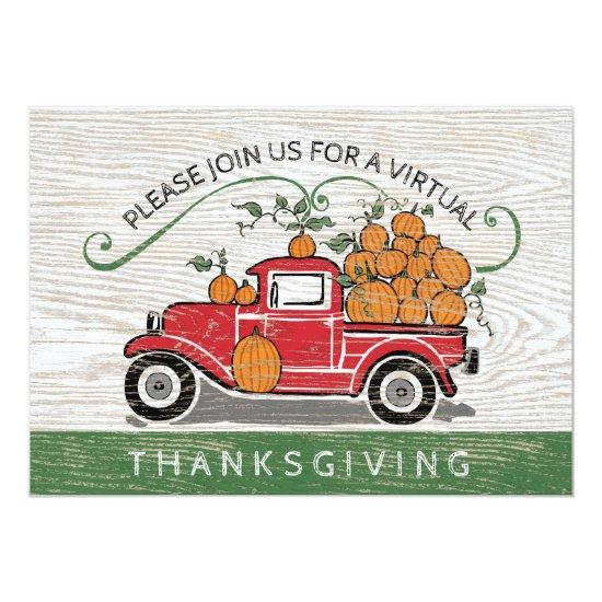 Virtual Thanksgiving Vintage Red Truck Pumpkins Invitation