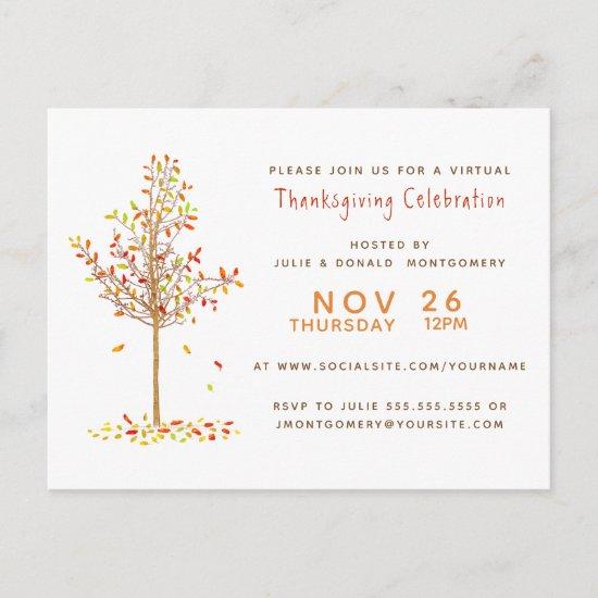 Virtual Thanksgiving Watercolor Autumn Tree Leaves Invitation Postcard