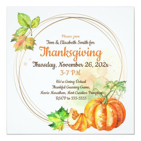 Virtual Thanksgiving Watercolor Pumpkins Invitation