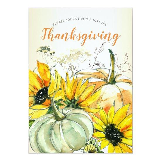 Virtual Thanksgiving Watercolor Sunflower Pumpkin Invitation