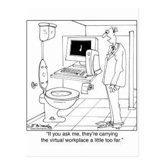 Virtual Workplace in a Bathroom Postcard