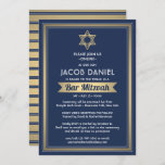 """Virtual Zoom Bar Mitzvah Navy Blue White & Gold Invitation<br><div class=""""desc"""">Whether friends and family are practicing social distancing or just live far away, connect with them online with a virtual bar mitzvah ceremony and celebration. This stylish modern invitation includes wording for a long distance online event via internet video conferencing and livestreaming. All text is simple to personalize, so it...</div>"""