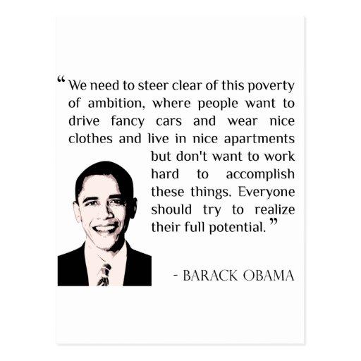Virtud del trabajo duro, Barack Obama inspirado Tarjeta Postal