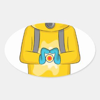 Virus Containment Man Cartoon Oval Sticker