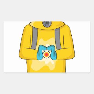 Virus Containment Man Cartoon Rectangular Sticker
