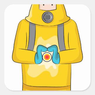 Virus Containment Man Cartoon Square Sticker