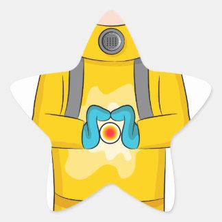 Virus Containment Man Cartoon Star Sticker