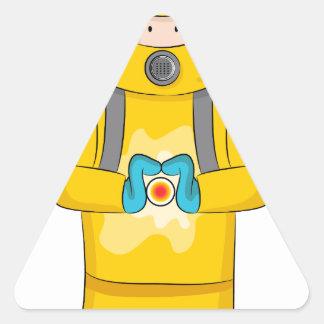 Virus Containment Man Cartoon Triangle Sticker