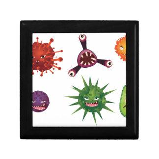 Virus del dibujo animado joyero cuadrado pequeño