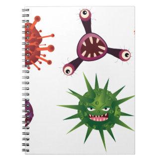 Virus del dibujo animado libros de apuntes con espiral