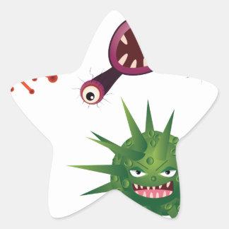 Virus del dibujo animado pegatina en forma de estrella