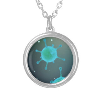 Virus Magnified Silver Plated Necklace